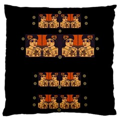 Geisha With Friends In Lotus Garden Having A Calm Evening Large Cushion Case (one Side) by pepitasart