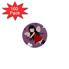 Cupid Girl 1  Mini Buttons (100 Pack)  by Valentinaart