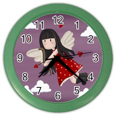 Cupid Girl Color Wall Clocks by Valentinaart
