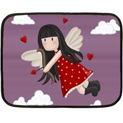 Cupid Girl Fleece Blanket (mini) by Valentinaart