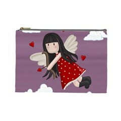 Cupid Girl Cosmetic Bag (large)  by Valentinaart