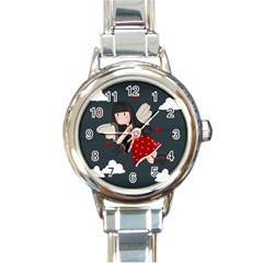 Cupid Girl Round Italian Charm Watch by Valentinaart