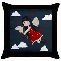 Cupid Girl Throw Pillow Case (black) by Valentinaart