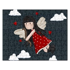 Cupid Girl Rectangular Jigsaw Puzzl by Valentinaart