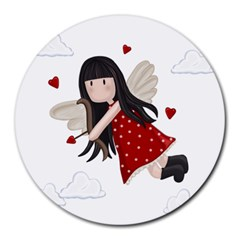 Cupid Girl Round Mousepads by Valentinaart
