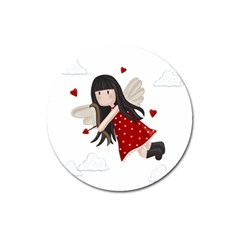 Cupid Girl Magnet 3  (round) by Valentinaart