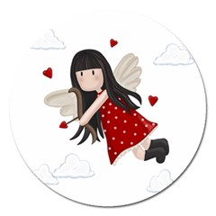 Cupid Girl Magnet 5  (round) by Valentinaart