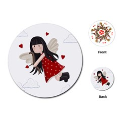 Cupid Girl Playing Cards (round)  by Valentinaart