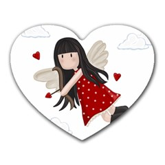 Cupid Girl Heart Mousepads by Valentinaart