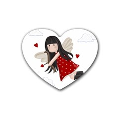 Cupid Girl Rubber Coaster (heart)  by Valentinaart
