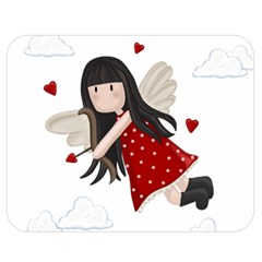 Cupid Girl Double Sided Flano Blanket (medium)  by Valentinaart