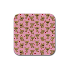Chihuahua Pattern Rubber Coaster (square)  by Valentinaart