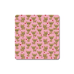 Chihuahua Pattern Square Magnet by Valentinaart