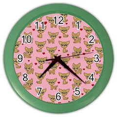Chihuahua Pattern Color Wall Clocks by Valentinaart