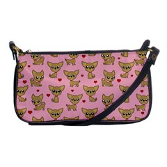 Chihuahua Pattern Shoulder Clutch Bags by Valentinaart