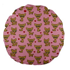Chihuahua Pattern Large 18  Premium Round Cushions by Valentinaart