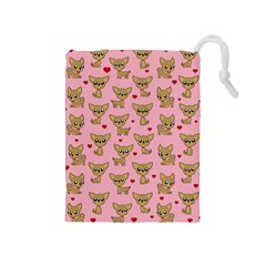 Chihuahua Pattern Drawstring Pouches (medium)  by Valentinaart