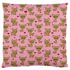 Chihuahua Pattern Large Flano Cushion Case (one Side) by Valentinaart