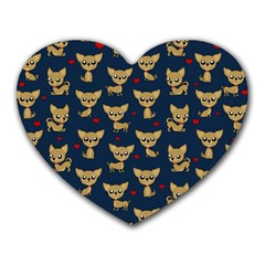 Chihuahua Pattern Heart Mousepads by Valentinaart