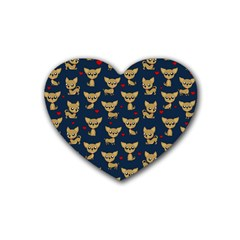 Chihuahua Pattern Rubber Coaster (heart)  by Valentinaart