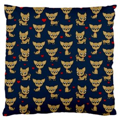 Chihuahua Pattern Large Flano Cushion Case (two Sides) by Valentinaart