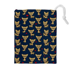 Chihuahua Pattern Drawstring Pouches (extra Large) by Valentinaart
