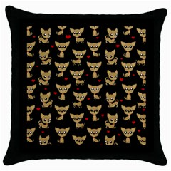 Chihuahua Pattern Throw Pillow Case (black) by Valentinaart