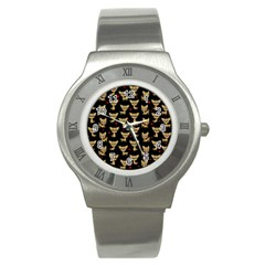 Chihuahua Pattern Stainless Steel Watch by Valentinaart