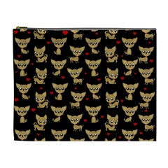Chihuahua Pattern Cosmetic Bag (xl) by Valentinaart