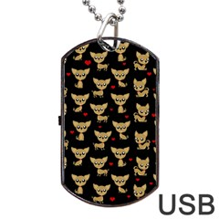 Chihuahua Pattern Dog Tag Usb Flash (one Side) by Valentinaart