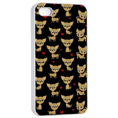 Chihuahua Pattern Apple Iphone 4/4s Seamless Case (white) by Valentinaart