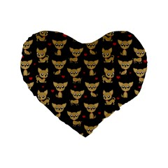 Chihuahua Pattern Standard 16  Premium Heart Shape Cushions by Valentinaart