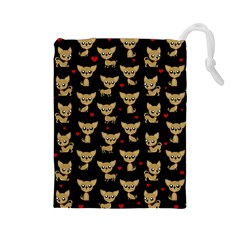 Chihuahua Pattern Drawstring Pouches (large)  by Valentinaart