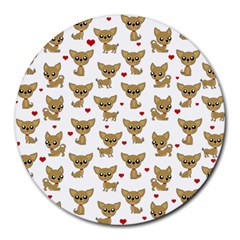 Chihuahua Pattern Round Mousepads by Valentinaart
