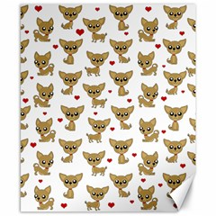 Chihuahua Pattern Canvas 8  X 10  by Valentinaart