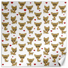 Chihuahua Pattern Canvas 12  X 12   by Valentinaart