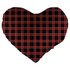 Coke Tartan Large 19  Premium Heart Shape Cushions by jumpercat