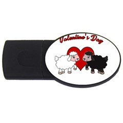 Valentines Day   Sheep  Usb Flash Drive Oval (4 Gb) by Valentinaart