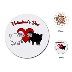 Valentines Day   Sheep  Playing Cards (round)  by Valentinaart