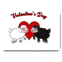 Valentines Day   Sheep  Large Doormat  by Valentinaart