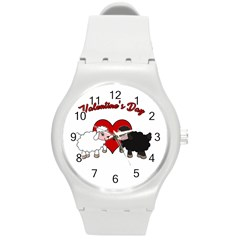 Valentines Day   Sheep  Round Plastic Sport Watch (m) by Valentinaart