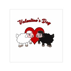 Valentines Day   Sheep  Small Satin Scarf (square) by Valentinaart