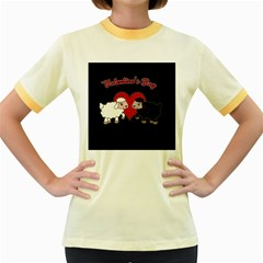 Valentines Day   Sheep  Women s Fitted Ringer T Shirts