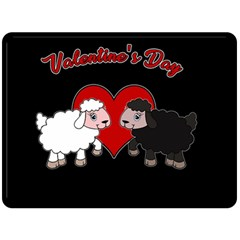 Valentines Day   Sheep  Fleece Blanket (large)  by Valentinaart