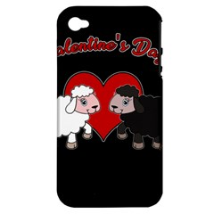 Valentines Day   Sheep  Apple Iphone 4/4s Hardshell Case (pc+silicone) by Valentinaart