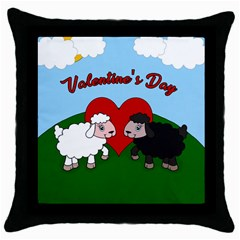 Valentines Day   Sheep  Throw Pillow Case (black) by Valentinaart
