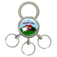 Valentines Day   Sheep  3 Ring Key Chains by Valentinaart