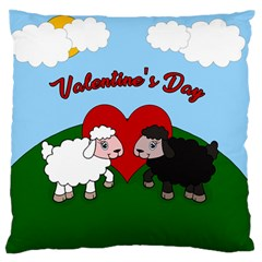 Valentines Day   Sheep  Large Flano Cushion Case (one Side) by Valentinaart