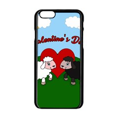 Valentines Day   Sheep  Apple Iphone 6/6s Black Enamel Case by Valentinaart
