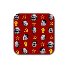 Communist Leaders Rubber Square Coaster (4 Pack)  by Valentinaart